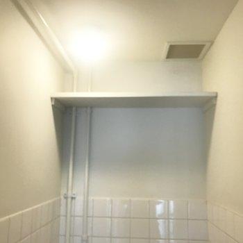 トイレの上には棚が!これ便利なんだよな〜。