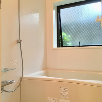 大きな窓の付いたバスルーム。爽やかです