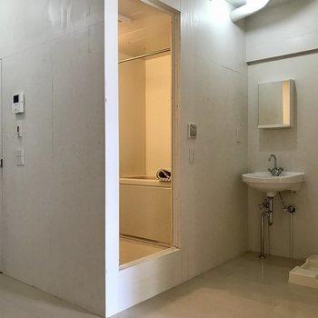 水回りエリア。左の扉はトイレです。