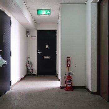 共用部もゆったり。エレベーター降りて目の前のお部屋です
