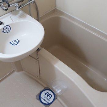 浴室内には洗面台もご一緒なのです。お風呂入りながらお掃除できるの!