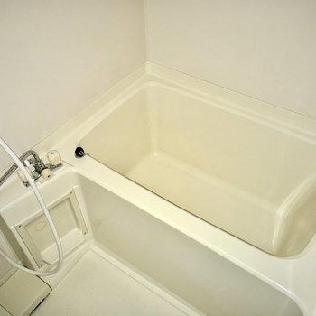 ゆったり肩までつかれる浴槽がイイね。(※写真は通電前のものです)