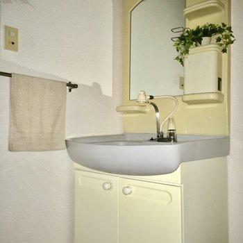 洗面台の鏡はアーチ型でキュート。(※写真は通電前のもので、写真の小物は見本です)