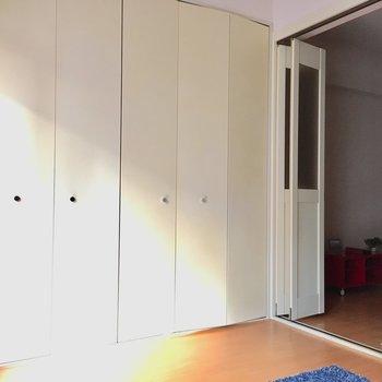 こちらは洋室の大きな扉!開けると〜?(※写真は通電前のものです)