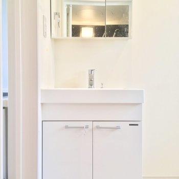 独立洗面台もありました!立派じゃ〜※写真はクリーニング前です
