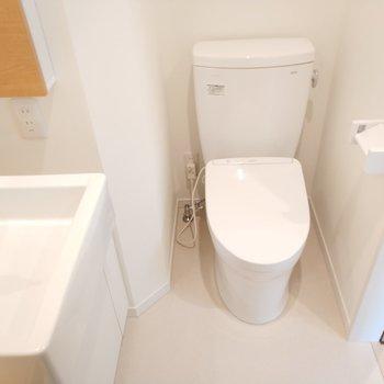 洗面台の横にはトイレ ※写真は1Kの似た間取り(2階)のお部屋です。