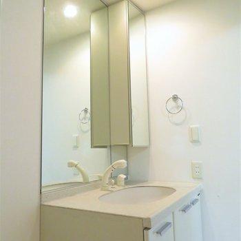 天井まで鏡がある洗面台(※写真は5階の同間取り別部屋のものです)