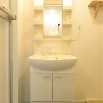 清潔感のある洗面台で朝の身支度楽々◎