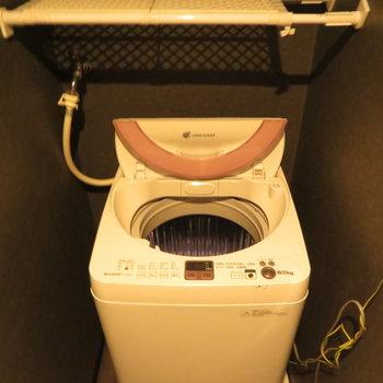 お風呂の前に洗濯機置き場(※写真の家電は見本です)