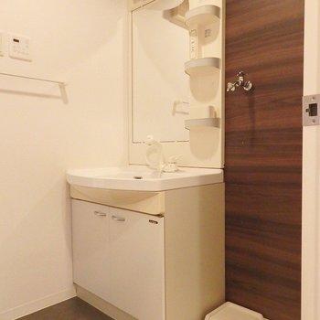 独立洗面台も白くて清潔。