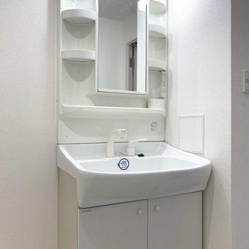 洗面台の棚にはシャンプーや洗剤などのストックを(※写真は8階の同間取り別部屋のものです)