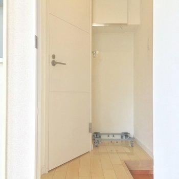 玄関は居室から扉を開けた所に。左手にはサニタリーです