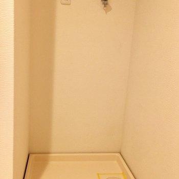 洗濯機置場は洗面台の隣に