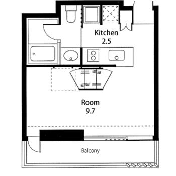 対面キッチンのあるワンルーム。