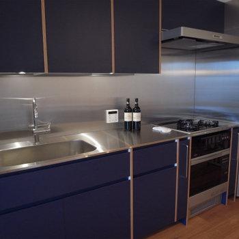 キッチンも最新型でオーブン付き。食洗機も相談可※写真は別部屋、5階の同じ間取りです