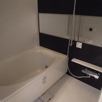 分譲タイプの大きなバスタブ、ステンレスの水洗がラグジュアリー※写真は別部屋、5階の同じ間取りです