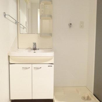 洗面と洗濯スペース。洗濯機は大きめも置けそうです。※写真は別室です。