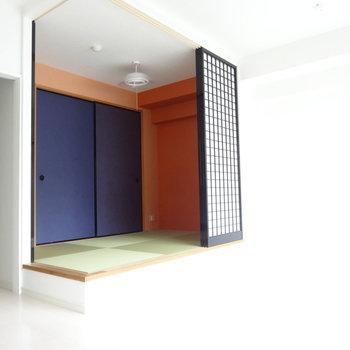 琉球畳に歌舞伎っぽい小上がり和室。※写真は別室です。