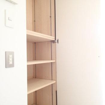 玄関付近に可動棚のある収納もあるので靴箱として使うのもあり。
