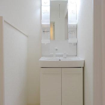 脱衣所には独立洗面台と、