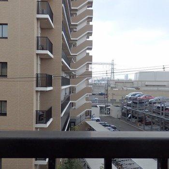 お隣のマンションがチラリ。右側には淀川の河川敷。