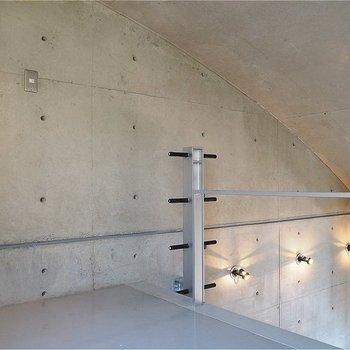 天井はアールがかってます。ダンベルみたいなはしご(※写真は同間取りの別のお部屋のもの)