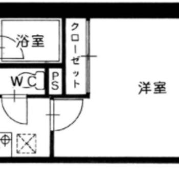洋室はやや変形でシンプルな1Kです。