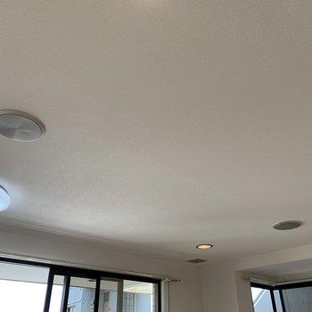 天井から音が流れます。
