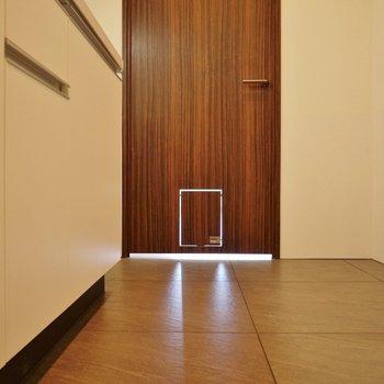 わんちゃん用のドアが可愛すぎ。※写真は別室です。