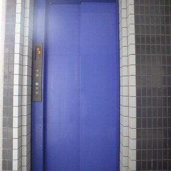 エレベーターの色は深いブルー