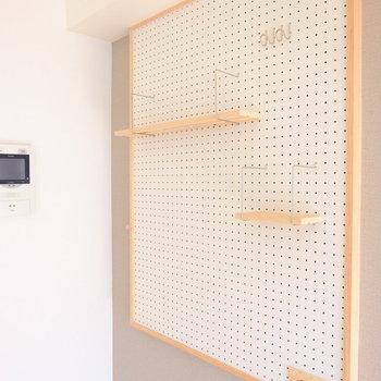 ペグボードを飾ってお気に入りのスペースにしてください!※写真は706号室です