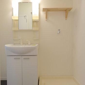 洗面台と洗濯機置き場は脱衣所に。