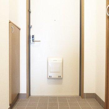 ポスト付いててレトロチックでかわいい。※写真は1階の反転間取り別部屋のものです
