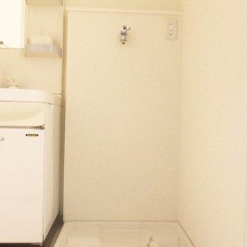 洗濯パンは脱衣所に。水回りはまとまっています。 ※写真は1階の反転間取り別部屋のものです
