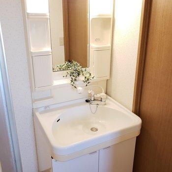 独立洗面台は譲れない!(※写真は6階の同間取り別部屋、モデルルームのものです)