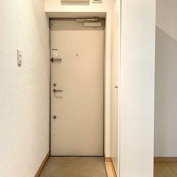 前が広いので、玄関マットを置きたくなります