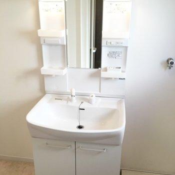 立派な洗面台です!横は洗濯機置き場※写真は2階の同間取り別部屋です