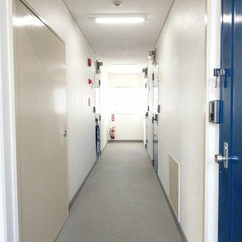 共用廊下は室内で綺麗。階段に1番近い手前の角部屋です。