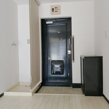 横の洗濯機置き場はロールカーテンで隠せます。来客時に見えないのは助かる。