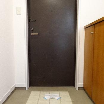 玄関も広い!シックな色が引き締めます!(※写真はモデルルームです)