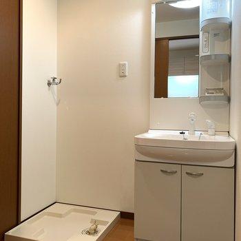 洗濯機と洗面台のあいだに棚を置きたい!タオル置きたい!