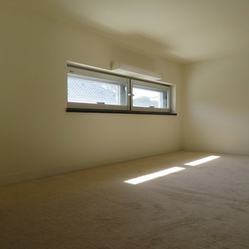 ロフトには明り取り窓が。下にはカーペットが敷かれています。