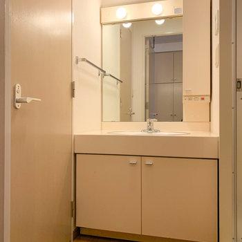 廊下から扉を開けて、脱衣所へ。左の扉がトイレです。