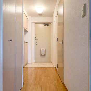 廊下部分へ。水回りや収納がまとまっています。