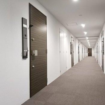 手前日左側のお部屋になります。※写真は2階の共用部のものです