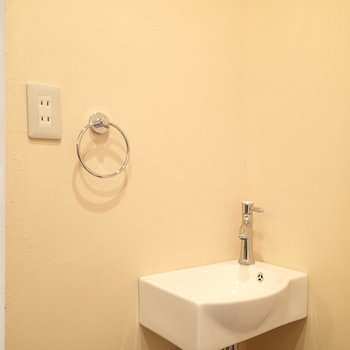 洗面台というよりは手洗い場という感じ。
