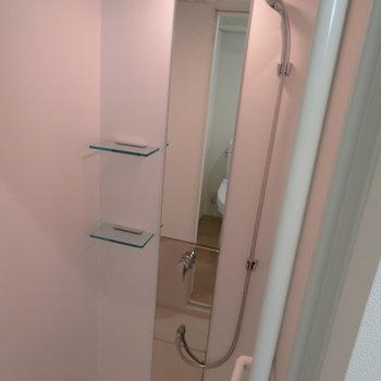 シャワールームです。一人だと十分ですね、※掲載写真は別部屋です。