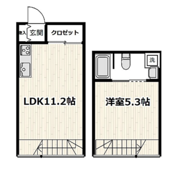 メゾネットタイプの1LDKのお部屋です