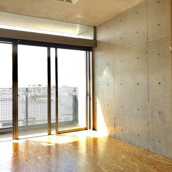 大きな窓とコンクリ打ちっぱなし。まさにデザイナーズ。※写真は通電前