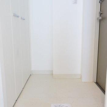 玄関もすっきりと(※写真は4階の反転間取り別部屋のものです)